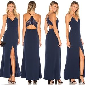 LOVERS + FRIENDS HELENA NAVY LACE BACK GOWN SIZE 4